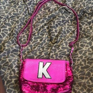 Girls hot pink justice bag with charms